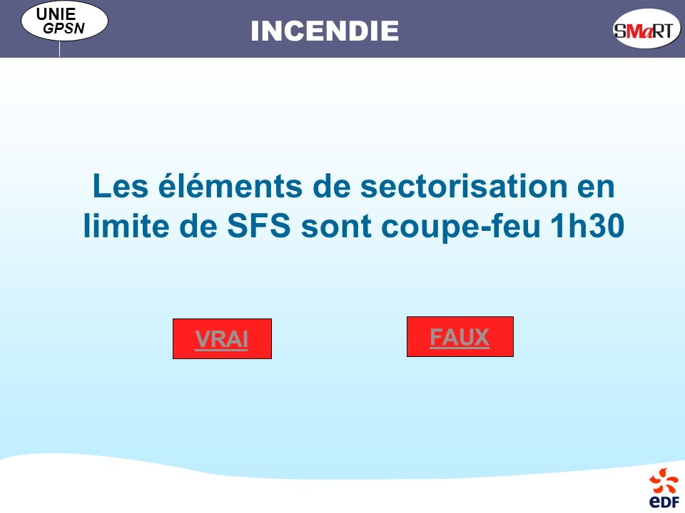 Les éléments de sectorisation en limite de SFS sont coupe-feu 1h30