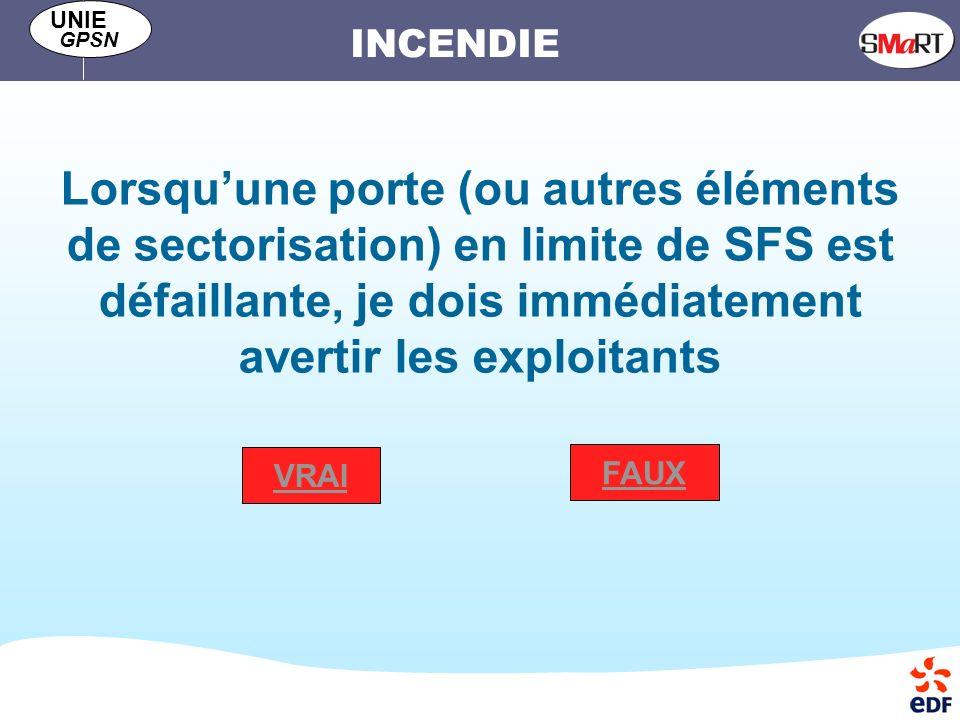 Lorsqu'une porte (ou autres éléments de sectorisation) en limite de SFS est défaillante, je dois immédiatement avertir les exploitants