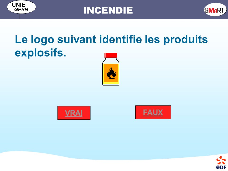 Le logo suivant identifie les produits explosifs.