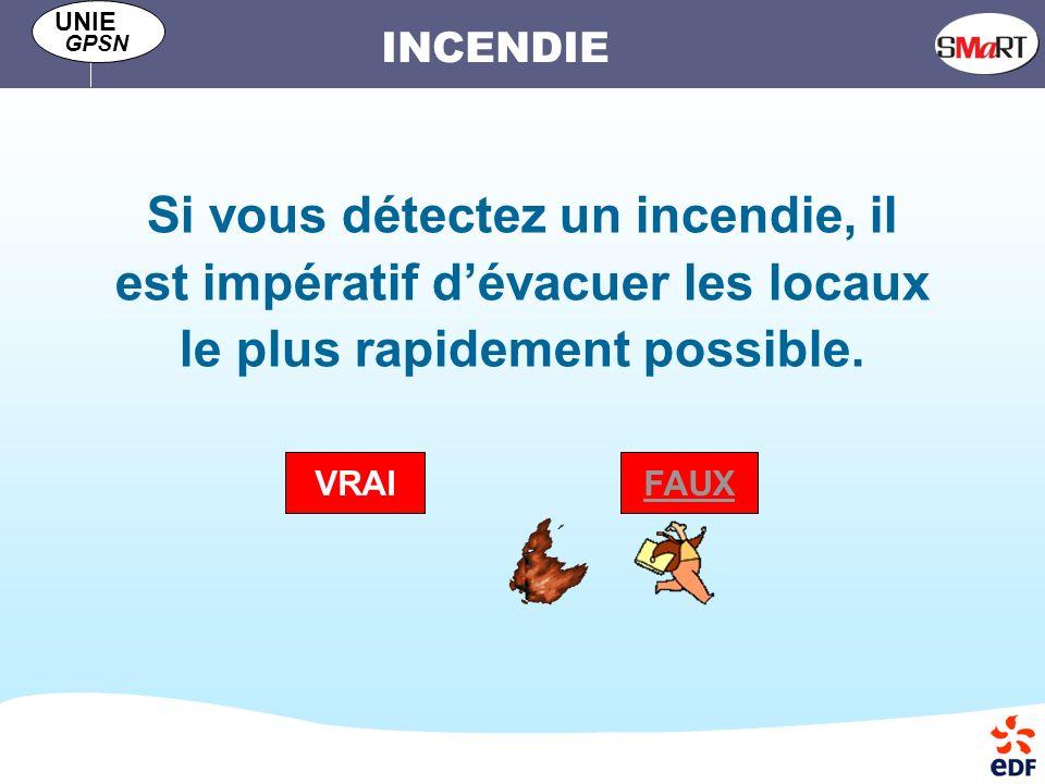 Si vous détectez un incendie, il est impératif d'évacuer les locaux le plus rapidement possible.