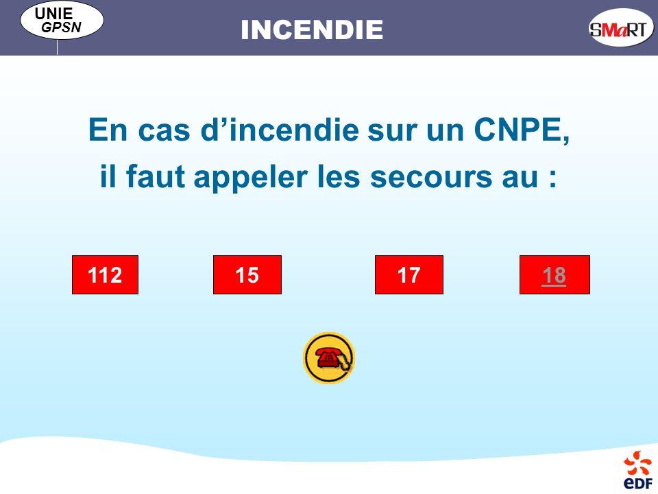 En cas d'incendie sur un CNPE, il faut appeler les secours au :