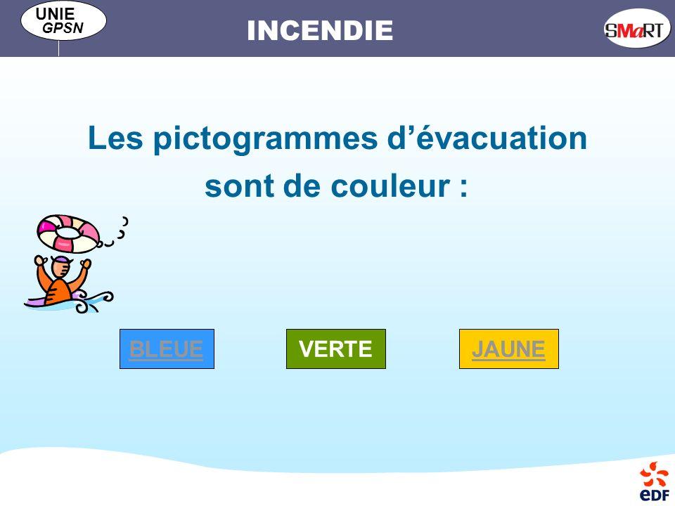 Les pictogrammes d'évacuation sont de couleur :