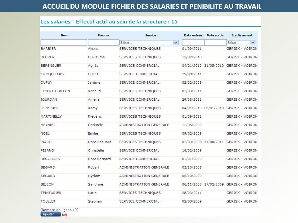 ACCUEIL DU MODULE FICHIER DES SALARIES ET PENIBILITE AU TRAVAIL