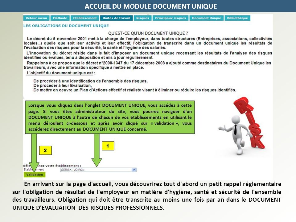 ACCUEIL DU MODULE DOCUMENT UNIQUE
