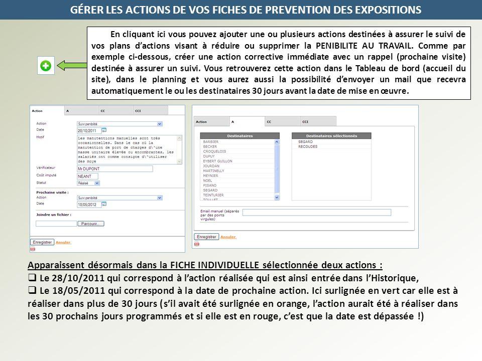 GÉRER LES ACTIONS DE VOS FICHES DE PREVENTION DES EXPOSITIONS