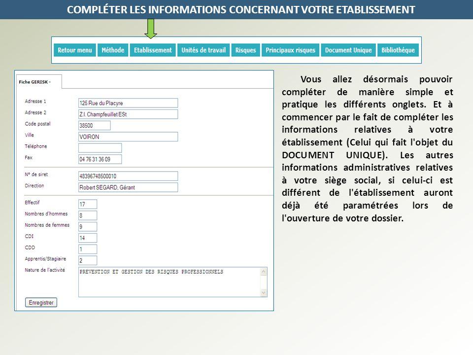 COMPLÉTER LES INFORMATIONS CONCERNANT VOTRE ETABLISSEMENT