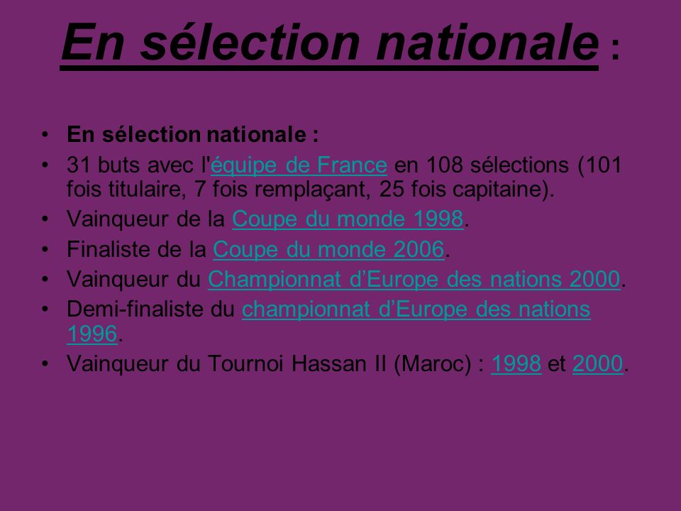 En sélection nationale :