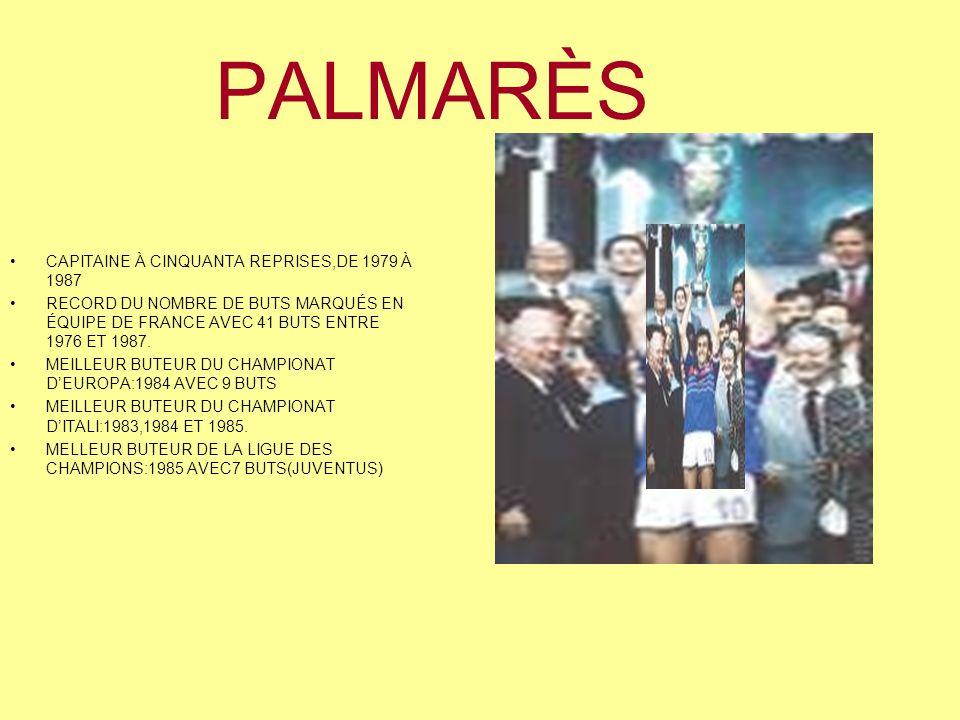 PALMARÈS CAPITAINE À CINQUANTA REPRISES,DE 1979 À 1987