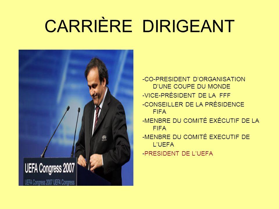 CARRIÈRE DIRIGEANT -CO-PRESIDENT D'ORGANISATION D'UNE COUPE DU MONDE