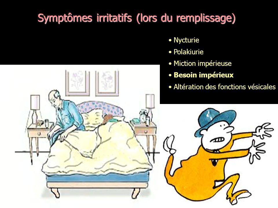 Symptômes irritatifs (lors du remplissage)