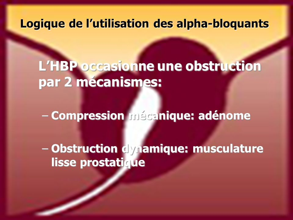 L'HBP occasionne une obstruction par 2 mécanismes: