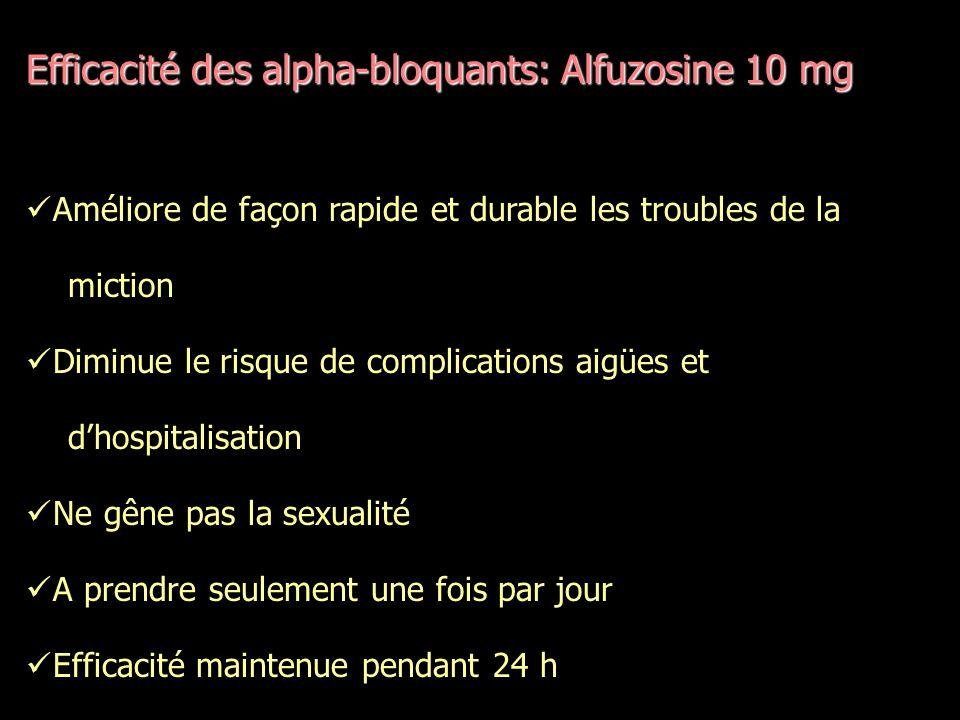 Efficacité des alpha-bloquants: Alfuzosine 10 mg