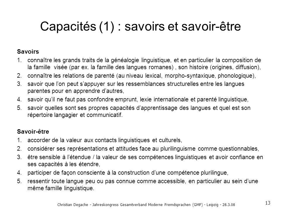 Capacités (1) : savoirs et savoir-être