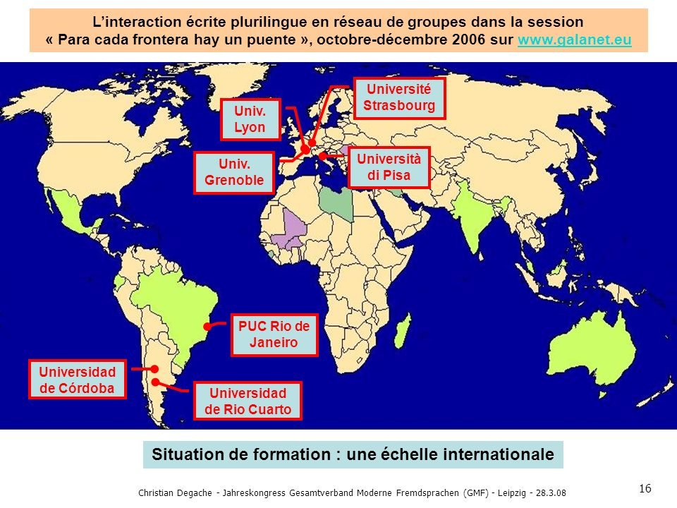 Situation de formation : une échelle internationale