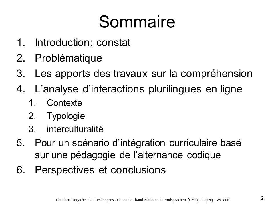 Sommaire Introduction: constat Problématique