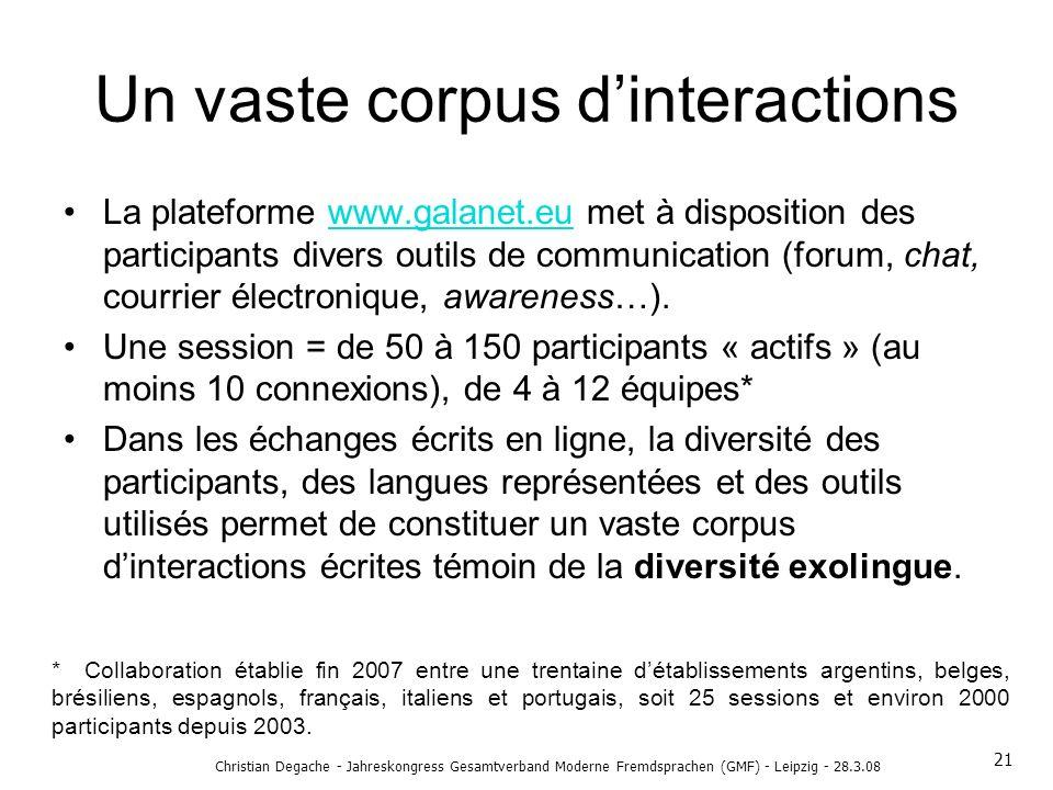 Un vaste corpus d'interactions