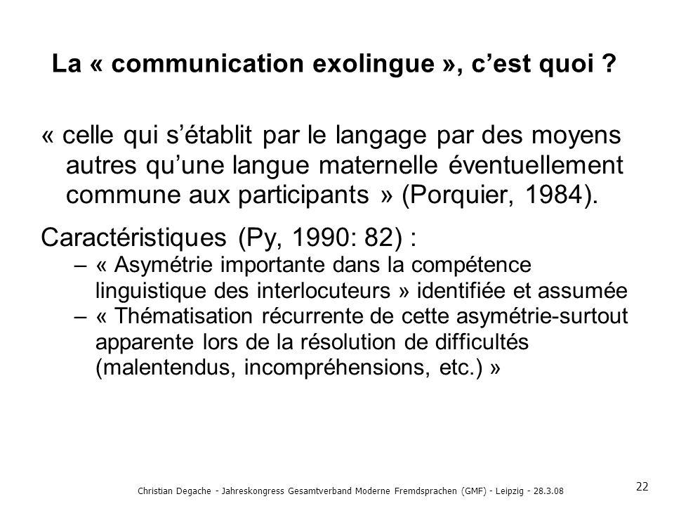 La « communication exolingue », c'est quoi