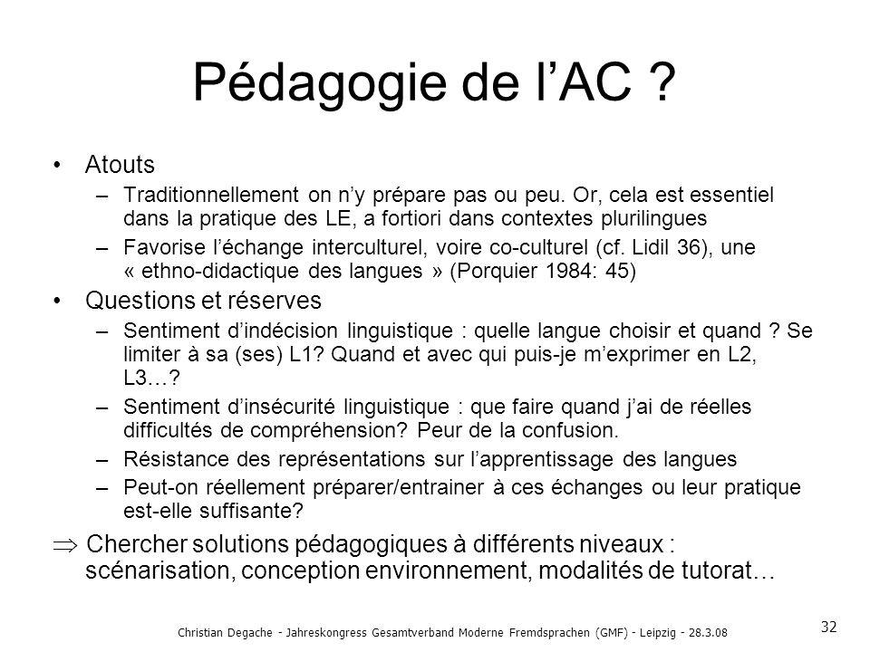 Pédagogie de l'AC Atouts.