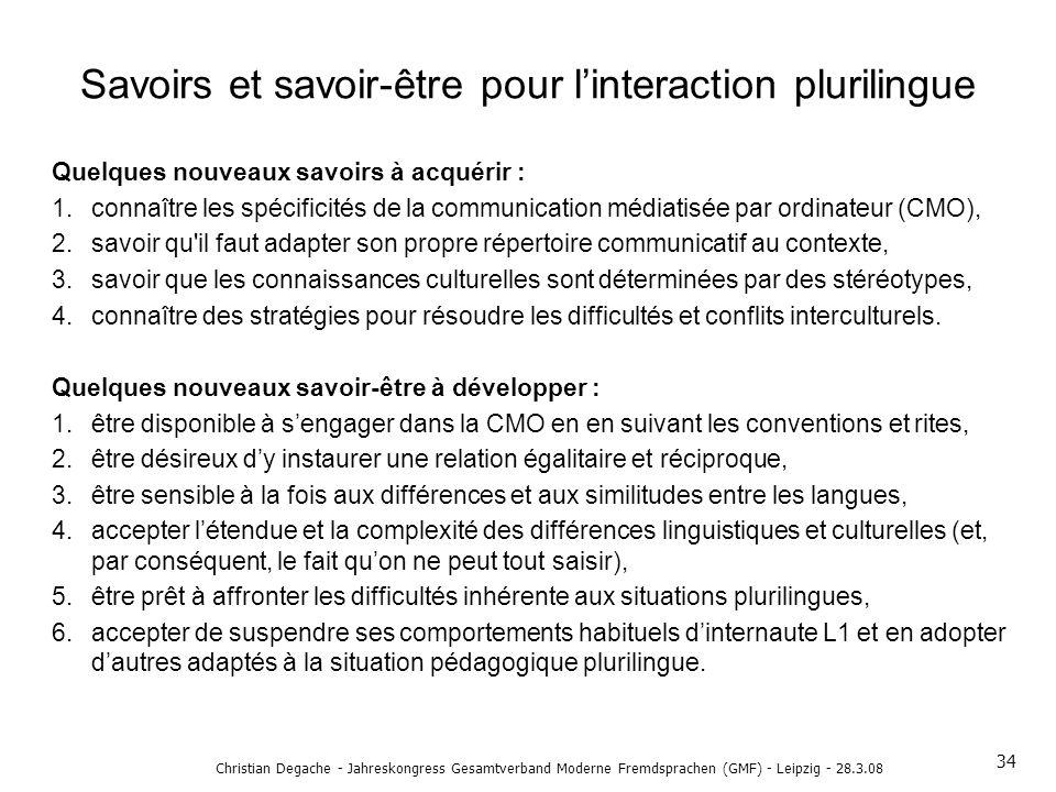 Savoirs et savoir-être pour l'interaction plurilingue