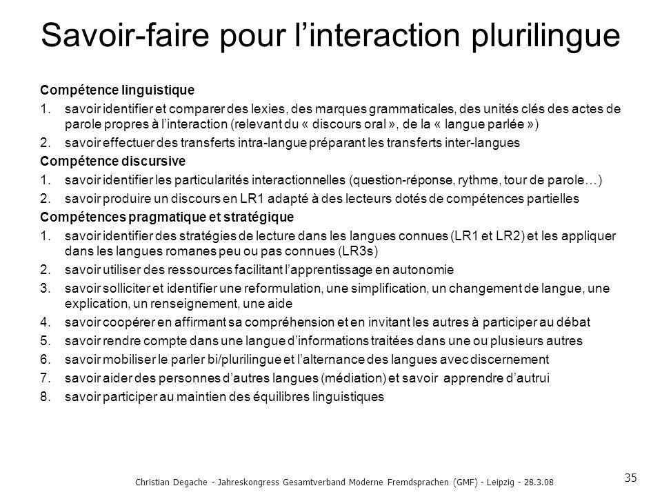 Savoir-faire pour l'interaction plurilingue
