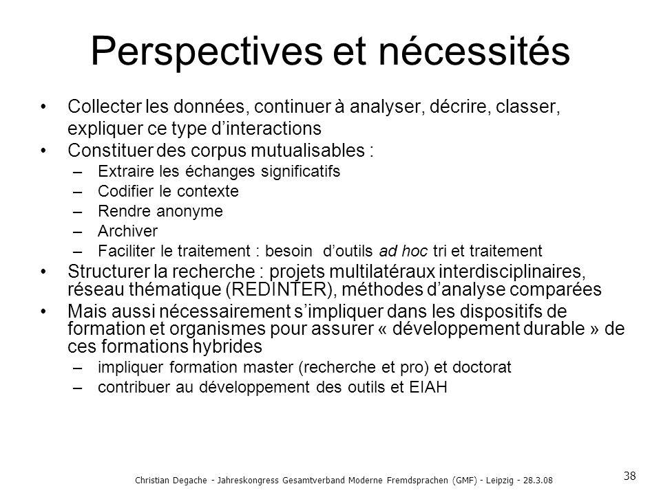 Perspectives et nécessités
