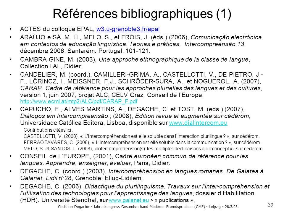 Références bibliographiques (1)