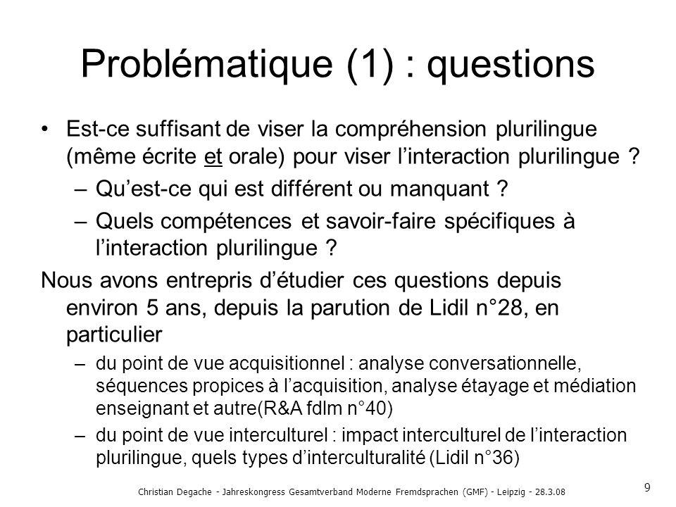 Problématique (1) : questions