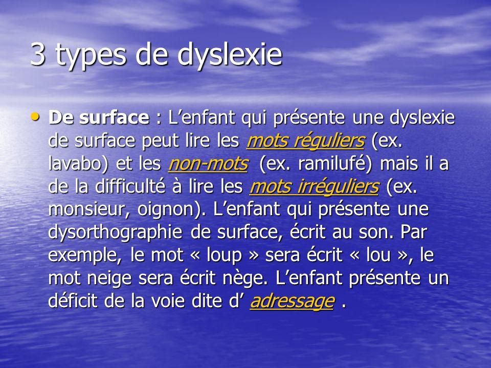 3 types de dyslexie