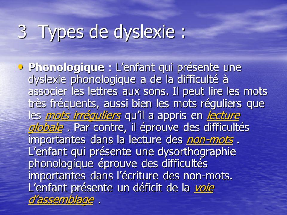 3 Types de dyslexie :