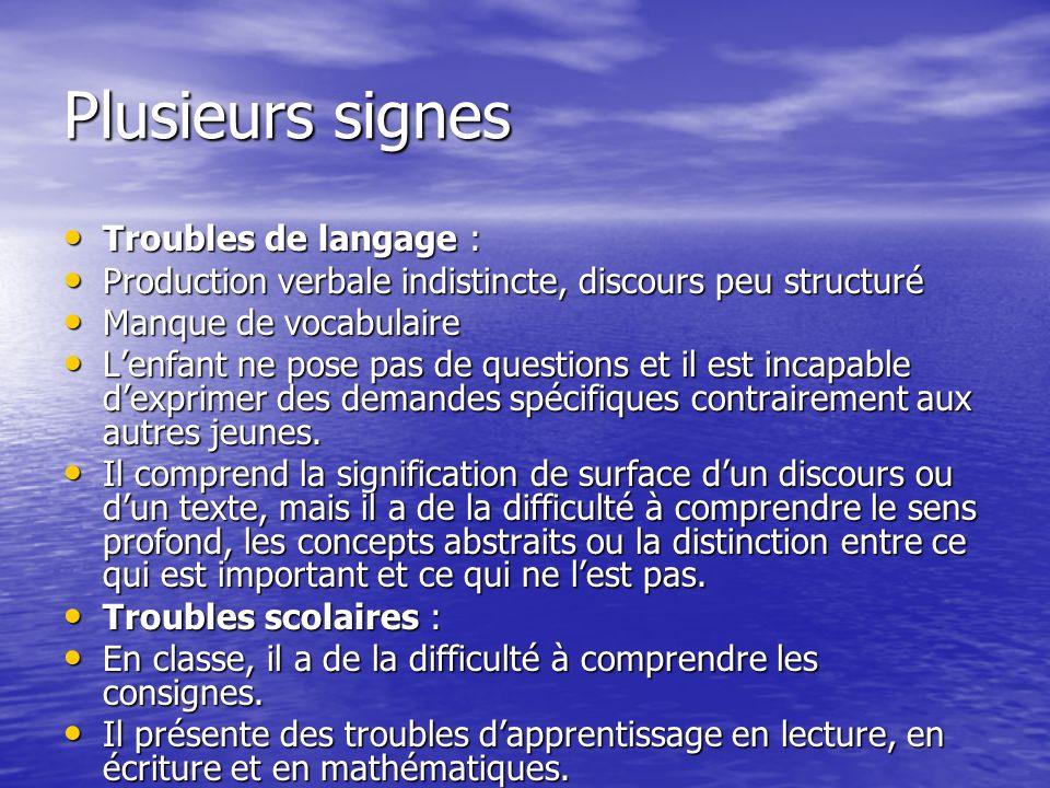 Plusieurs signes Troubles de langage :