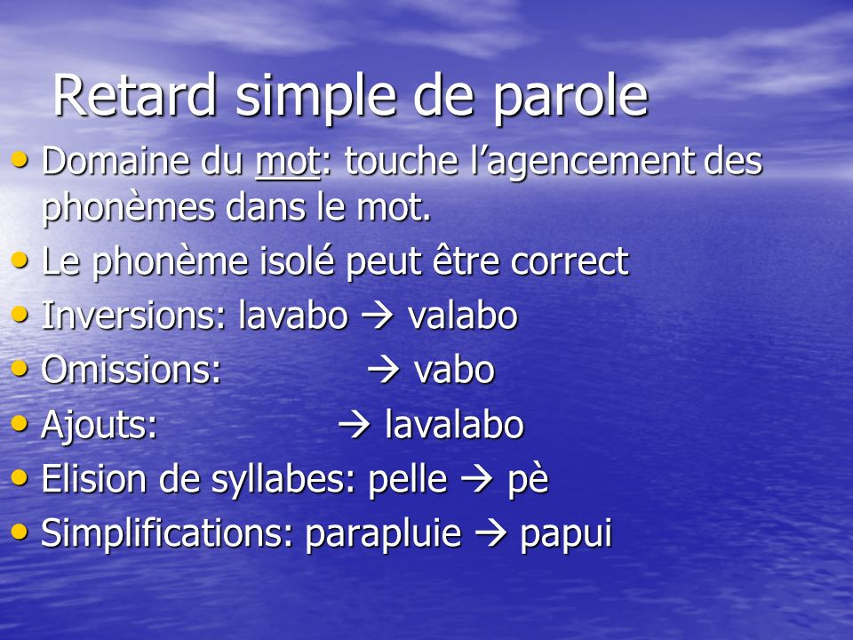 Retard simple de parole