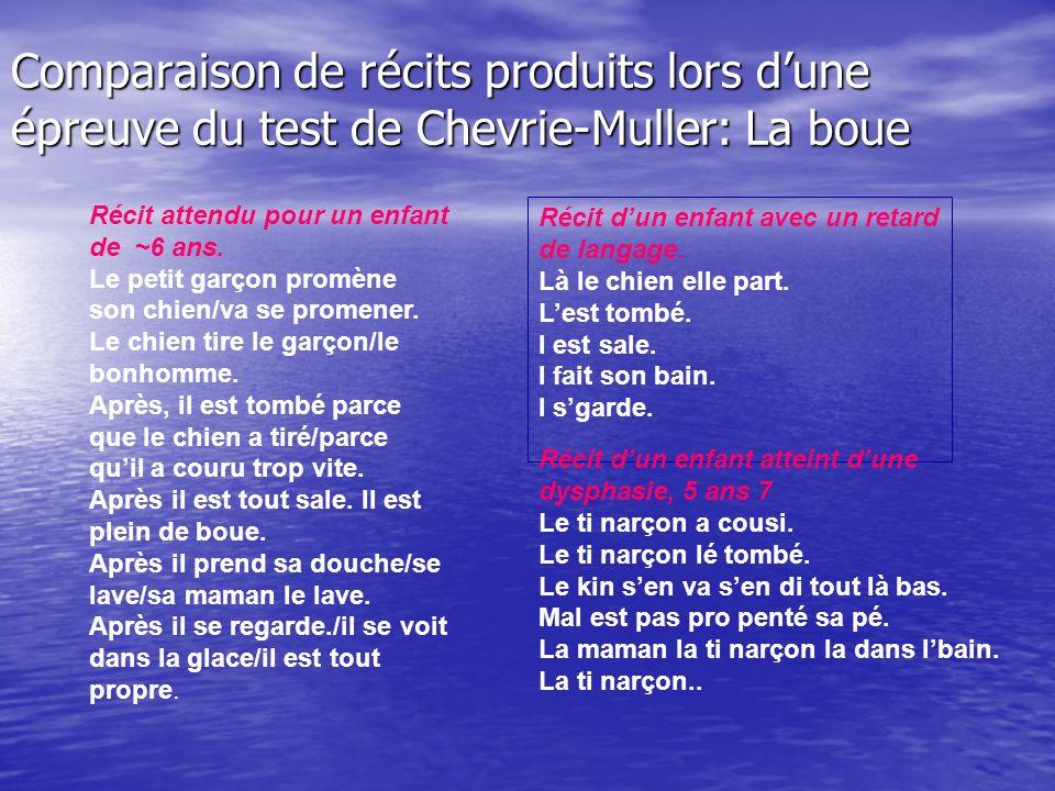 Comparaison de récits produits lors d'une épreuve du test de Chevrie-Muller: La boue