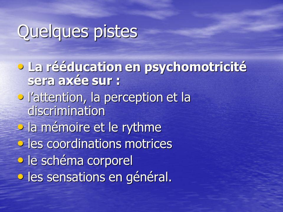 Quelques pistes La rééducation en psychomotricité sera axée sur :