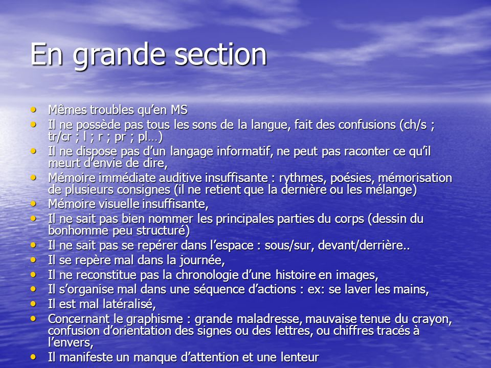 En grande section Mêmes troubles qu'en MS