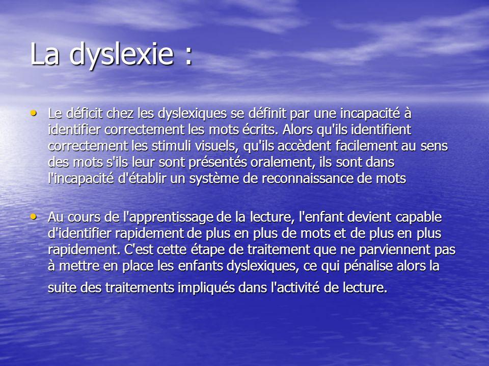 La dyslexie :