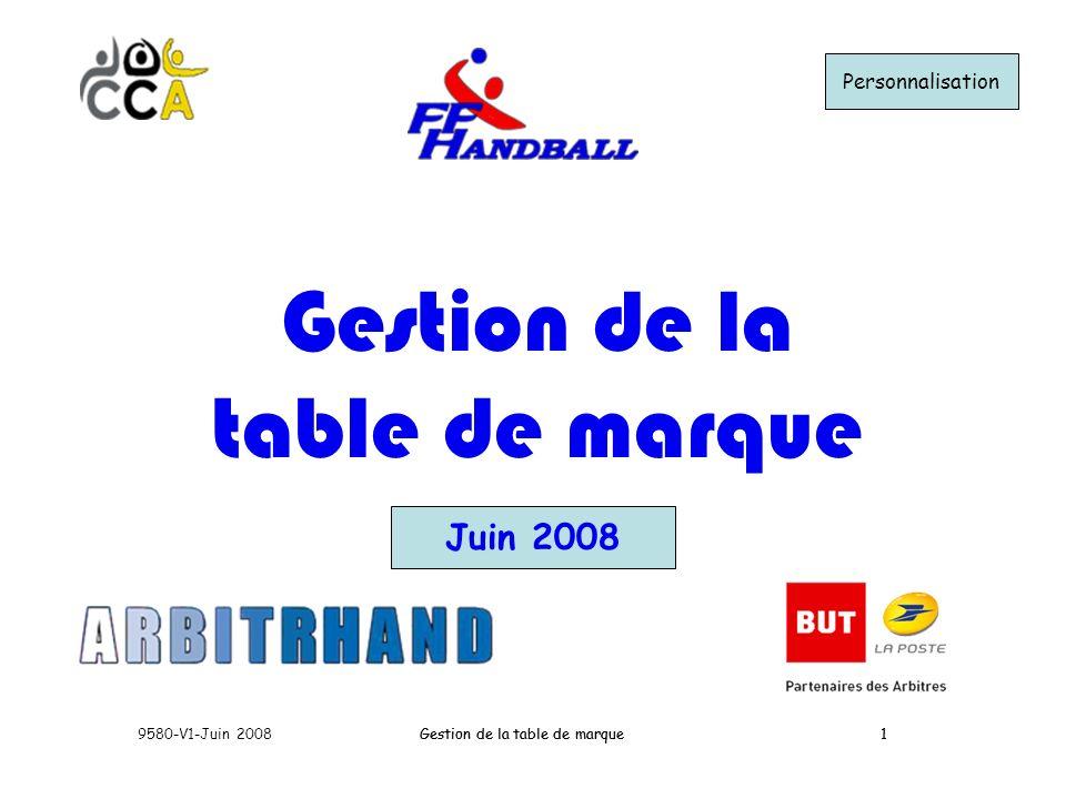 Gestion de la table de marque Juin 2008 Personnalisation