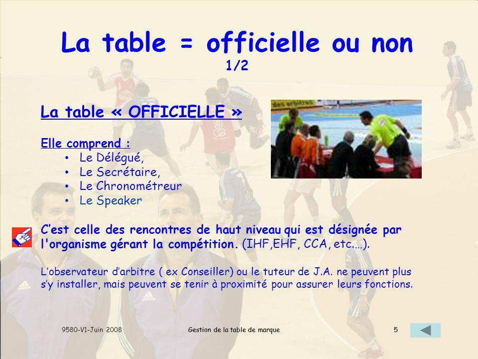 La table = officielle ou non 1/2