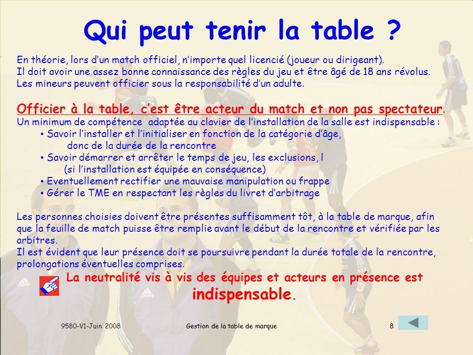 Qui peut tenir la table En théorie, lors d'un match officiel, n'importe quel licencié (joueur ou dirigeant).