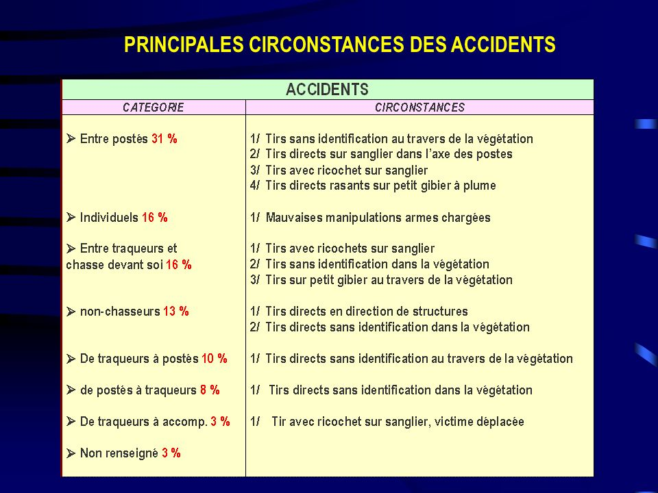 PRINCIPALES CIRCONSTANCES DES ACCIDENTS
