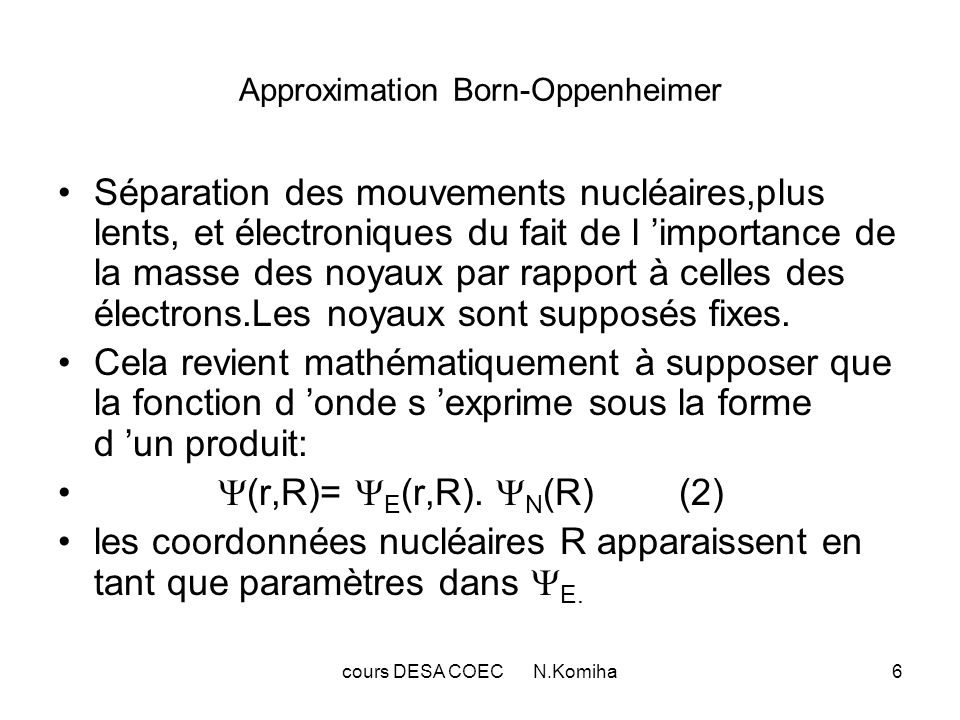 Approximation Born-Oppenheimer