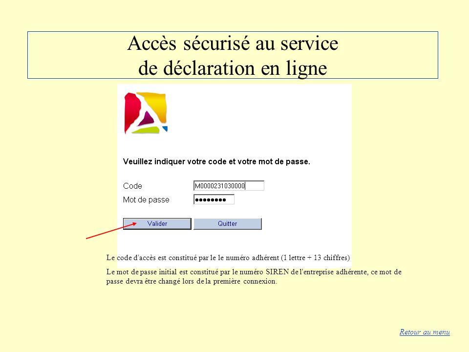 Accès sécurisé au service de déclaration en ligne