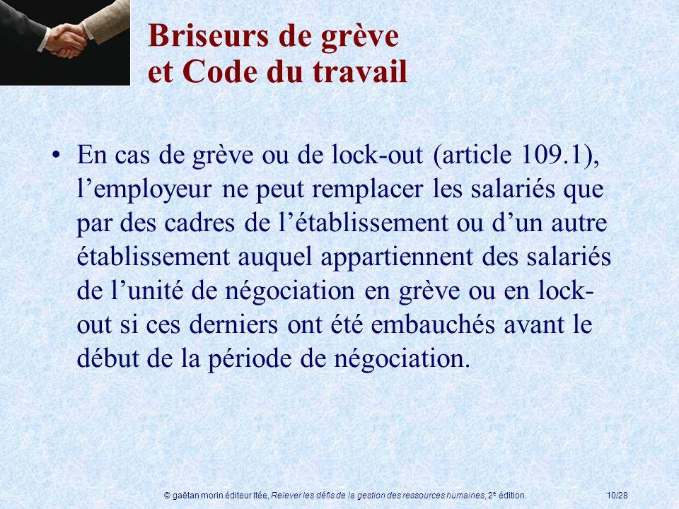 Briseurs de grève et Code du travail