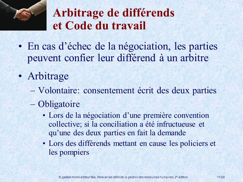 Arbitrage de différends et Code du travail