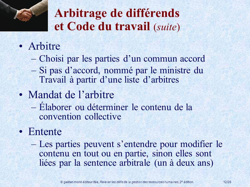 Arbitrage de différends et Code du travail (suite)