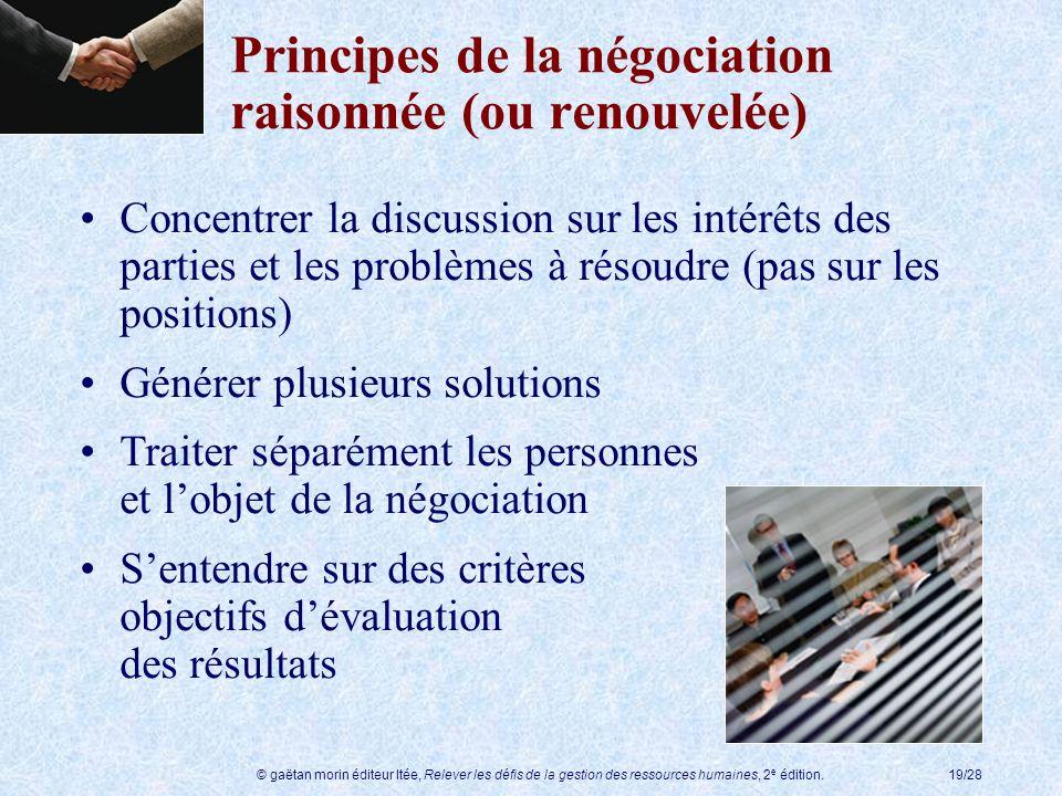 Principes de la négociation raisonnée (ou renouvelée)