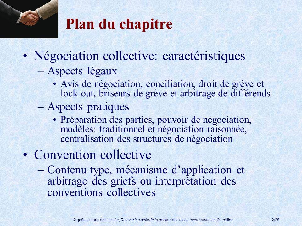 Plan du chapitre Négociation collective: caractéristiques