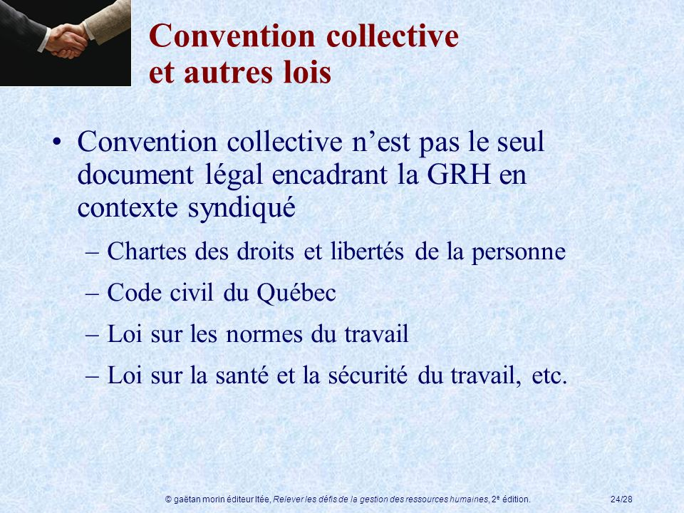 Convention collective et autres lois