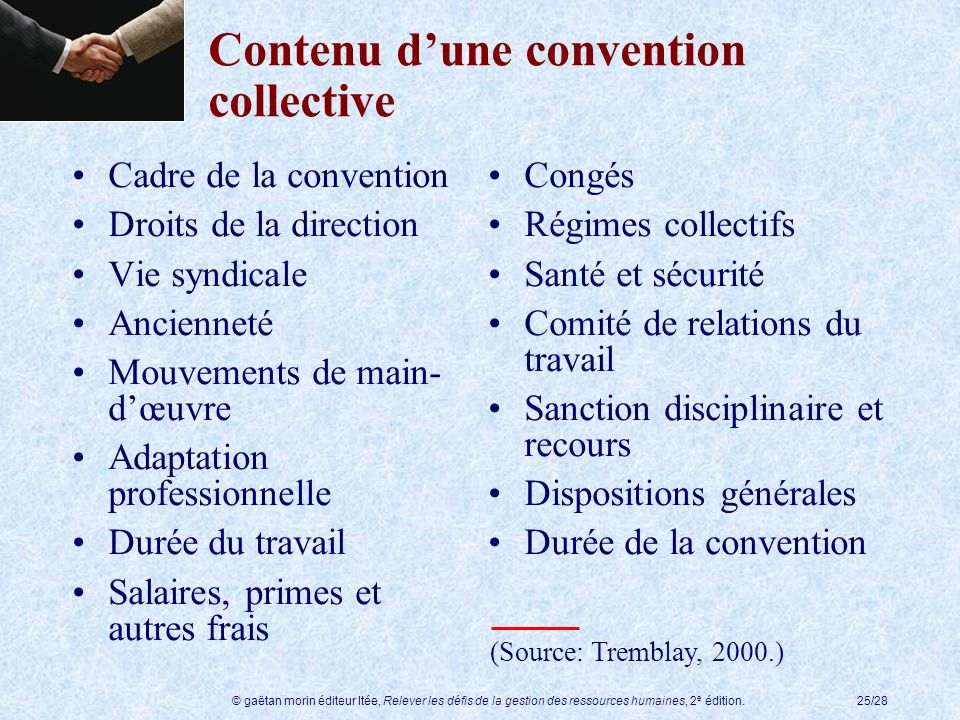 Contenu d'une convention collective