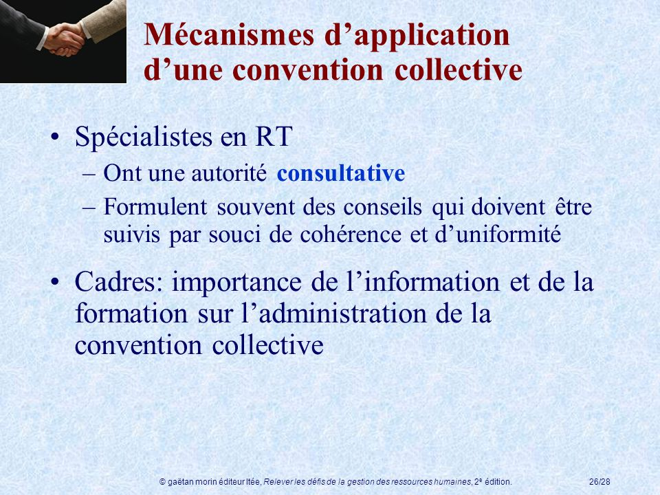 Mécanismes d'application d'une convention collective