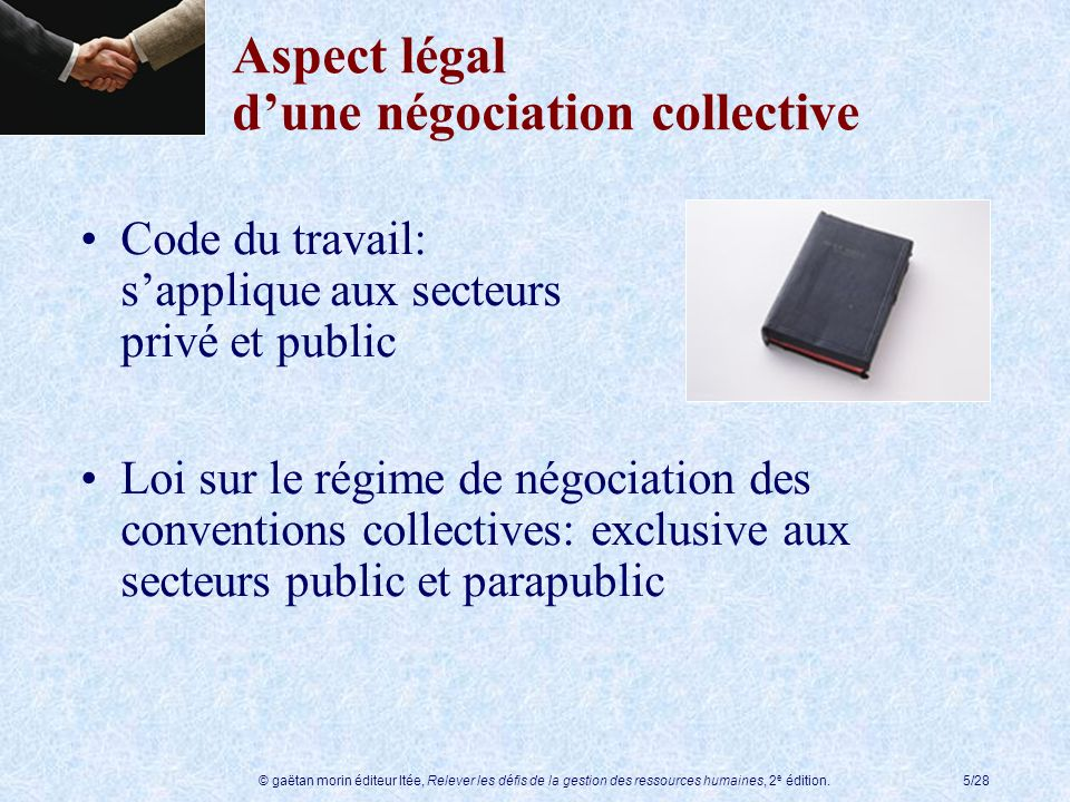 Aspect légal d'une négociation collective